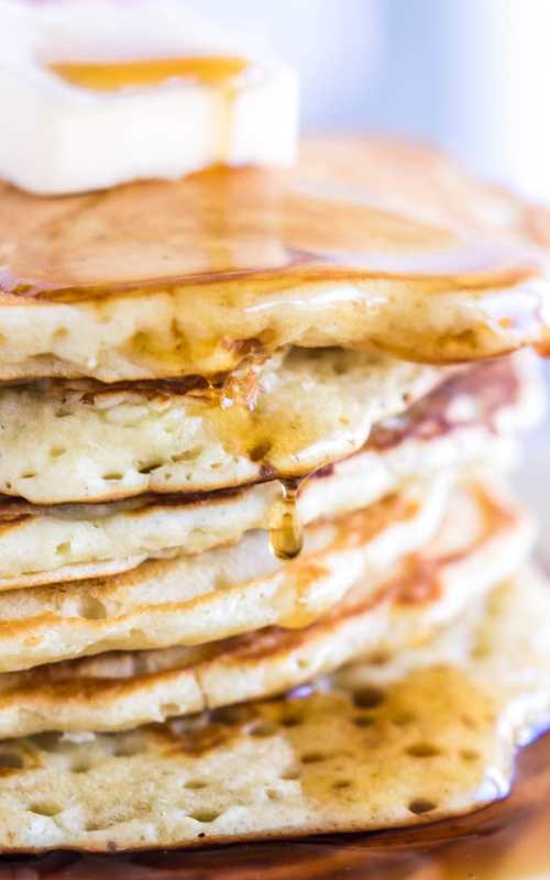 Making pancakes from scratch is just as easy as making pancakes out of a box mix. This recipe makes them light, fluffy, tender, and perfect for soaking up maple syrup.