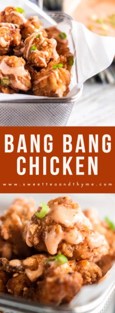 Popular Bang Bang Chicken --seasoned bites of crispy chicken with the most awesome, creamy, sweet and spicy sauce-- is easily made at home in just half an hour!