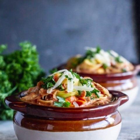 Creamy Chicken Tomato Tortellini Soup