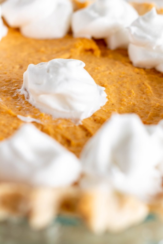 Close up of the Sweet Potato Chiffon Pie with Whipped Cream topping on Sweet Tea and Thyme | www.sweetteaandthyme.com