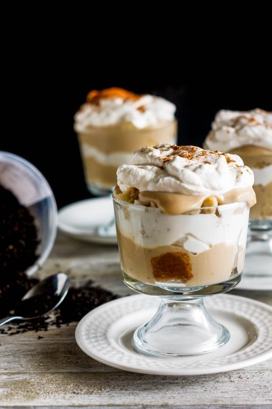This tea trifle is sweet, creamy, and delicious with chai spiced cake and tea-infused custard layered with vanilla whipped cream!