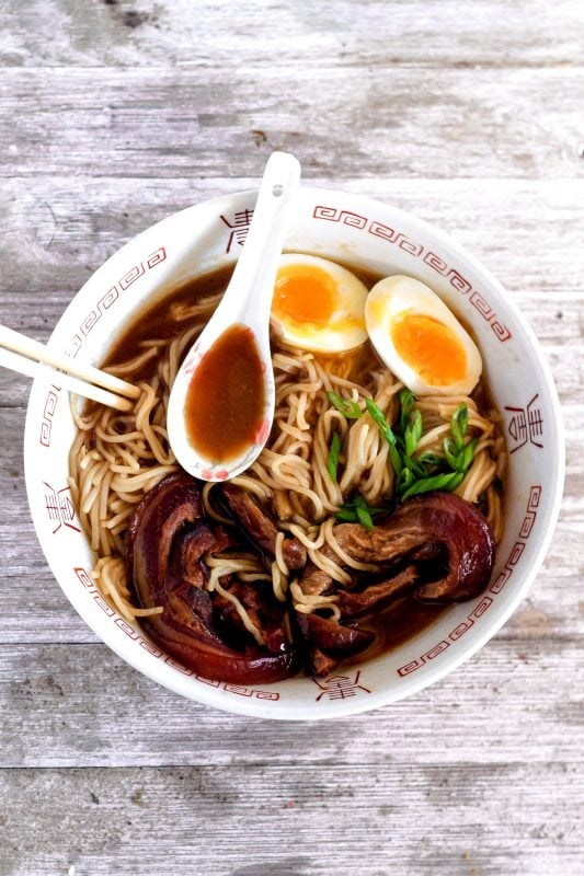Tonkotsu ramen is rich, filling, and easy to make at home with a luscious slow-cooked pork and chicken broth, fresh noodles, soft yolks, and tender pork belly.