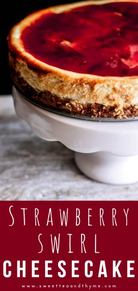 This strawberry swirl cheesecake is light, creamy, fluffy, smooth, and perfect for any special occasion! This is the ultimate strawberry cheesecake, with three layers of strawberry sauce within and on top of the cheesecake. Delicious!