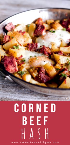 Corned beef hash is a classic recipe using up all that left over corned beef from St. Patrick's Day! Crispy potatoes, savory corned beef, and baked eggs with runny yolks, it's breakfast perfection!