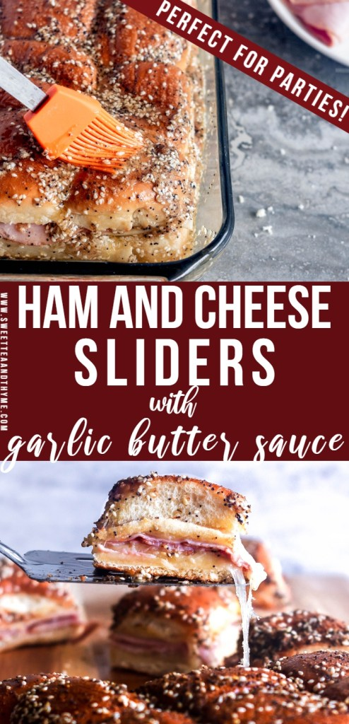 Hot Ham and Cheese Sliders are a fun, easy, and crazy delicious freezer-friendly dish that is a hit at get-togethers with adults and kids alike! Use your favorite cheese and type of ham in between soft, sweet Hawaiian rolls then slather on plenty of that amazing garlic butter sauce that is full of great flavor. No one can resist!