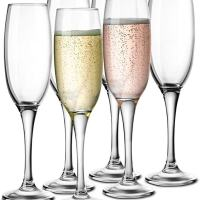 Glass Champagne Flutes, Thin Stem, 7 ounce (6)
