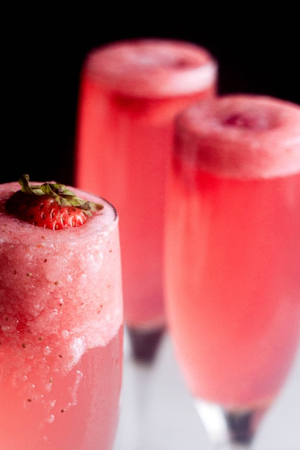 The rossini cocktail is your new favorite brunch drink! Made with strawberry puree, sparkling wine, and simple syrup.