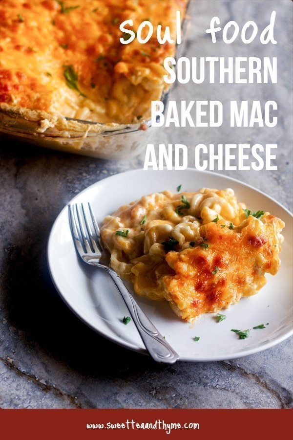 Southern baked mac and cheese, also called soul food mac and cheese, is the ultimate in comfort food. My recipe has five cheeses, is creamy, rich and comforting, and stays true to the cultural classic.