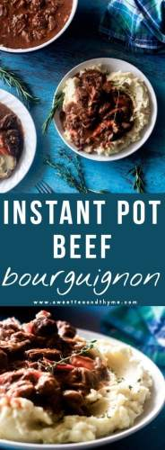 Beef Bourguignon in the Instant Pot has never been quicker or tastier! All done in about an hour, the beef is seared and the vegetables are sauteed in rendered bacon fat, then pressure cooked in a red wine and beef stock until the beef is melt-in-your-mouth tender.