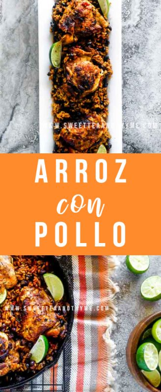 Arroz con Pollo is classic Cuban and Puerto Rican comfort food. Made in one pan with rice, chicken and veggies, this easy chicken and rice dish is a family-approved staple.