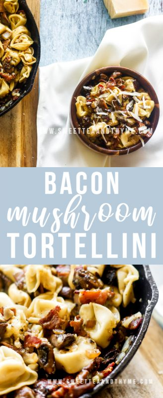 Bacon Mushroom Tortellini is so tasty, hearty, and delicious with only seven simple ingredients! The best part is that it comes together in just 25 minutes.
