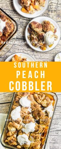 This is the best peach cobbler recipe; it's so fast, easy, and simple to make from scratch! Baked with delicious cinnamon-sugar drop biscuit-dumplings and spiked with a splash of bourbon, then topped with vanilla ice cream for the perfect end-of-summer southern dessert.
