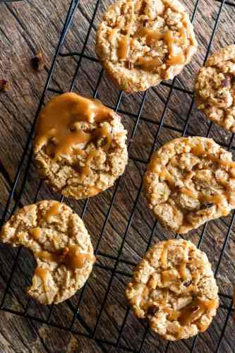overhead shot of praline cookies on a wire cooling rack with praline icing