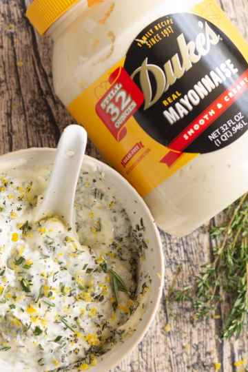 herbs and lemon zest mixed into mayonnaise for a Thanksgiving turkey