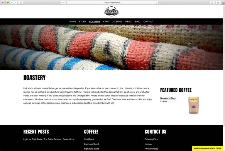 Peavine Coffee Shop Roastery Page (located in Prescott Valley, Arizona)