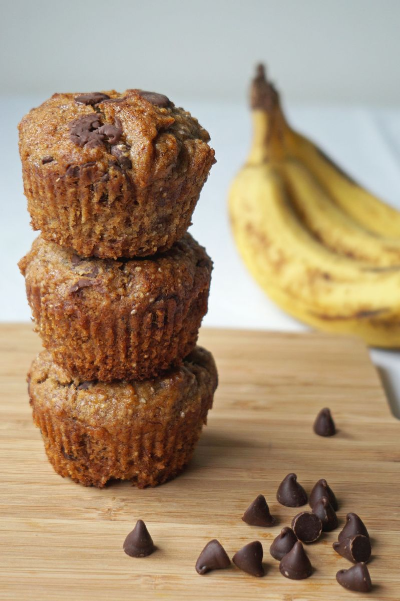 Vegan Banana, Chocolate & Chia Muffins {gf}