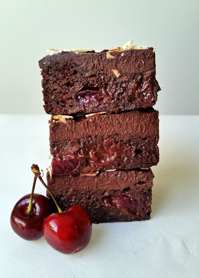 Frosted Black Forest Brownies Vegan Gluten Free