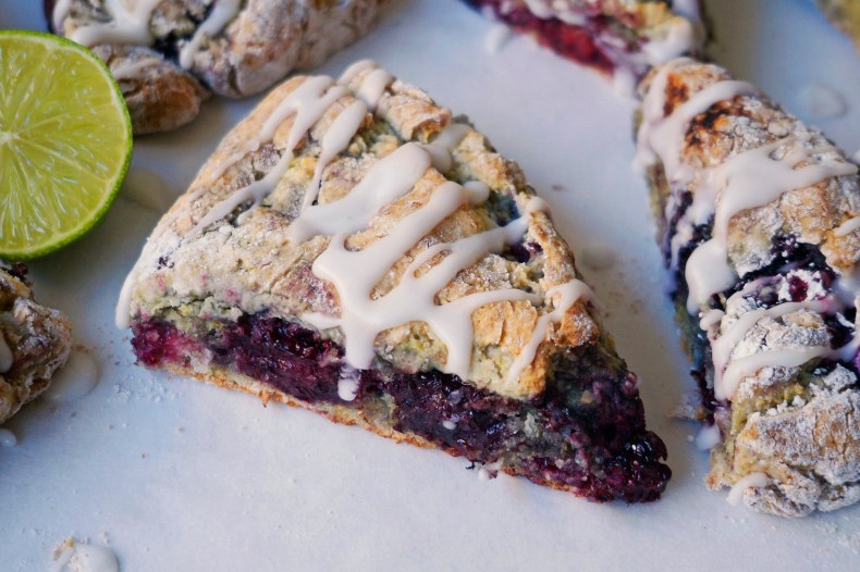Blackberry, Lime & Coconut Scones {vegan, GF}