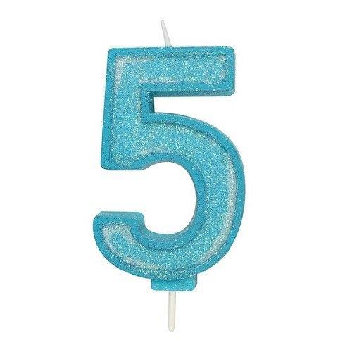 Cijferkaars Glitter blauw - 5