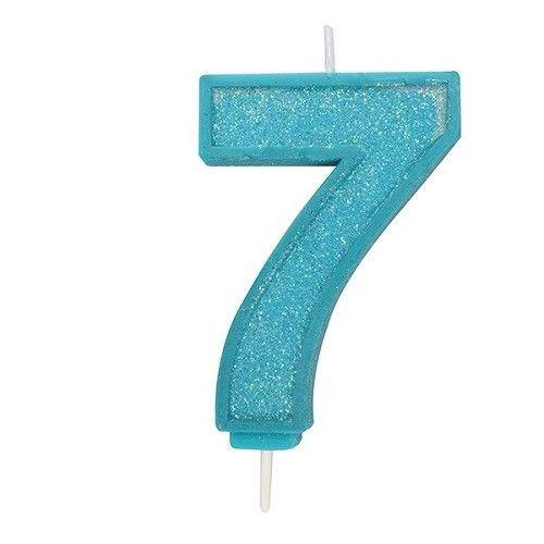 Cijferkaars Glitter blauw - 7