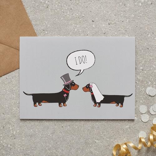Dachshund Sausage Dog Wedding Card 275 Mischievous