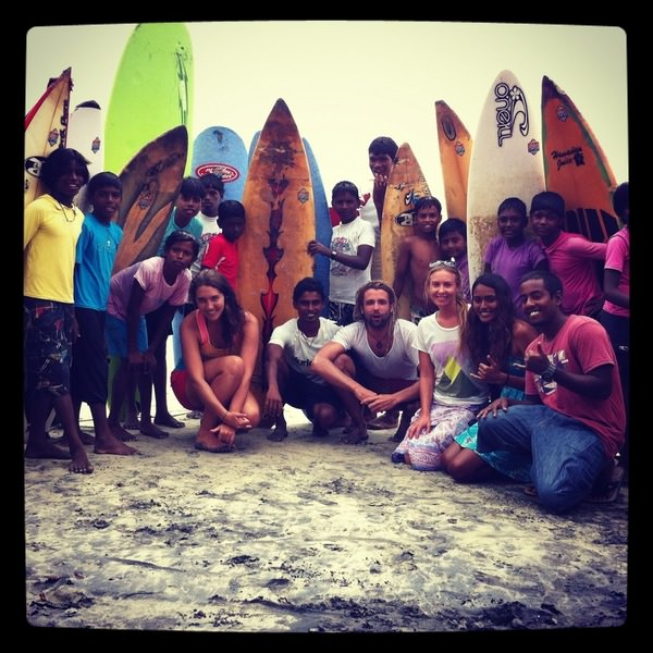 With the Kovalom Surf Club in India.