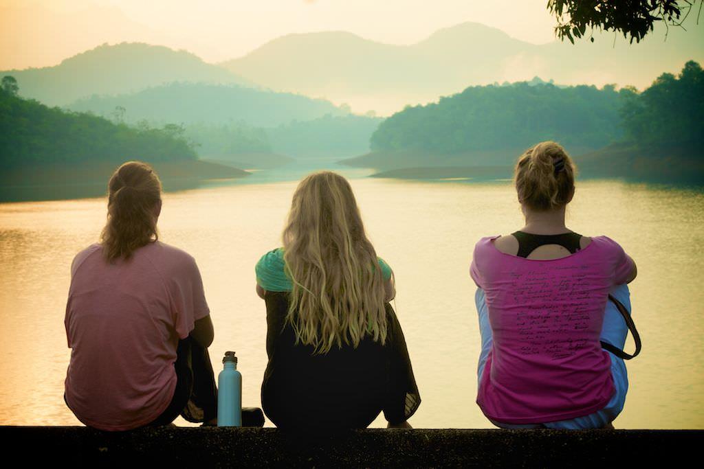 Emi, Lauren, Kate...catching sunrise over the lake.