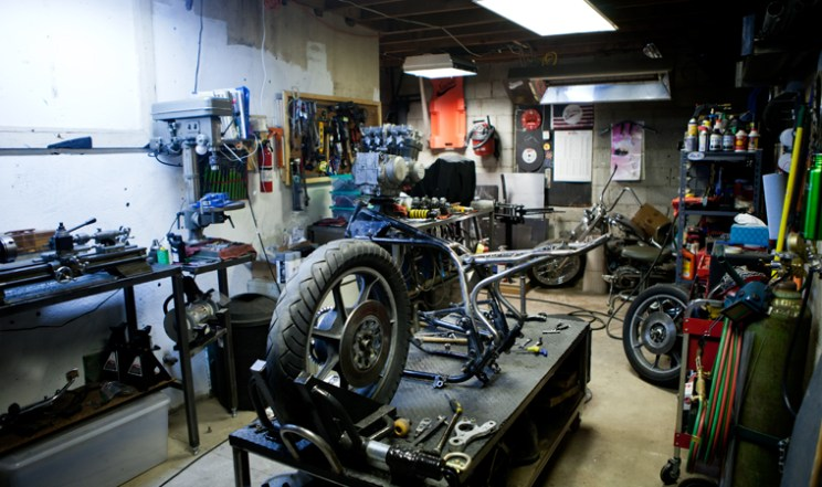 kz750 disassembled and ready for paint in the Swerve Customs shop