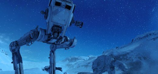 An AT-ST on Twilight on Hoth in Battlefront.