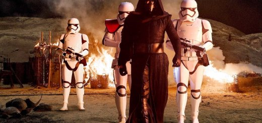 Kylo Ren and First Order Stormtroopers in The Force Awakens.