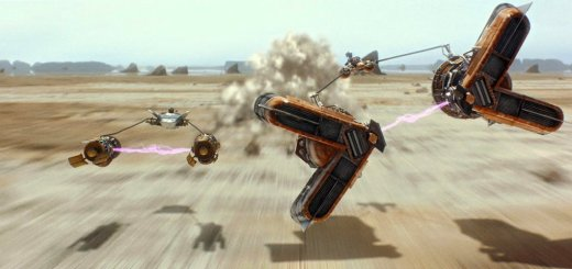 Rivals Anakin and Sebulba face off in a podrace.