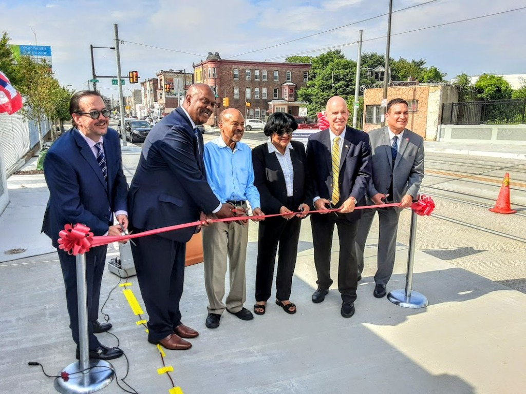 Left to Right: David Forde, University of the Sciences - Director of Community and Government Affairs, Congressman Dwight Evans, State Representative James Roebuck, Councilwoman Jannie Blackwell, Jeff Knueppel, SEPTA General Manager, and Mark Richard Montanez, Deputy city Transportation Commissioner.