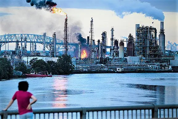 The damaged and shuttered South Philly Refinery of Philadelphia Energy Solutions (formerly the Sunoco Refinery) following the June 21, 2019 explosion. It is slated to be sold to a Chicago real estate development company. The future of former PES employees has not been announced.