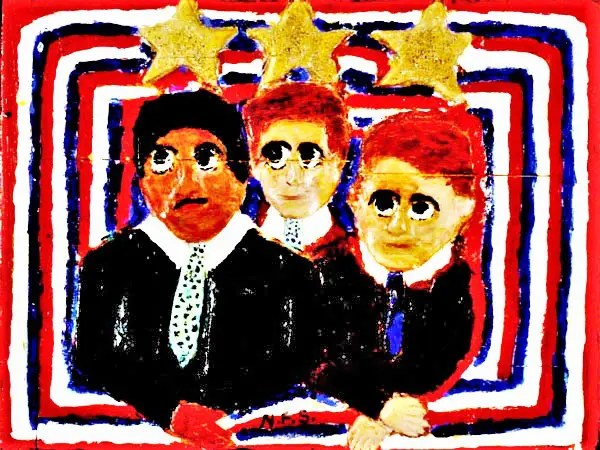 """The Rev. Dr. Martin Luther King, Jr., with John and Robert Kennedy carved and painted on wood by self-taught African American artist Elijah Pierce.1  One might ask, """"Why were these men grouped together by the artist?"""" and """"Why the gold stars?"""""""