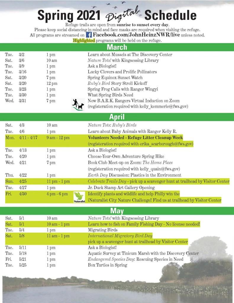 Heinz News - Spring 2021 Schedule