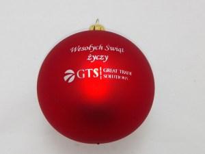 bombki świateczne GTS czerwone z logo