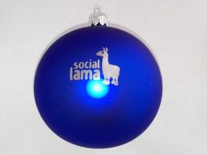 Christmas ball with logo social lama, blue