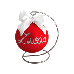 Christmas balls decorated with a name, stand