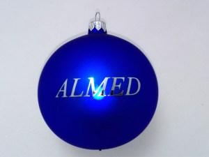 advertising ball with logo almed, blue