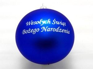 balls with dedication boże narodzenie, blue