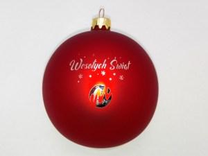 red engraved ball wesołych świąt