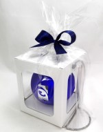 engraved bauble in a package with a stand, blue