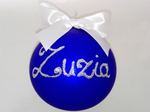 painted balls with name Zuzia, blue