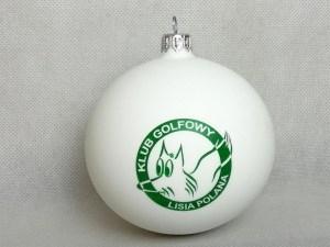 producent bombek, bombki z logo, bombka biała golf