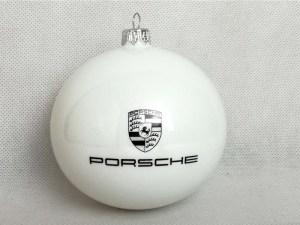 producent bombek, bombki z logo, bombka biała Porsche