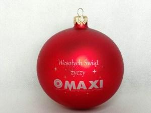 producent bombek, bombki z logo, bombka czerwona Maxi