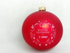 producent bombek, bombki z logo, bombka czerwona MSI