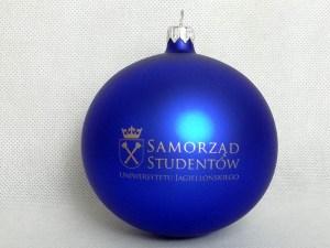 bombki z logo, producent bombek, bombka niebieska Uniwersytet Jagieloński