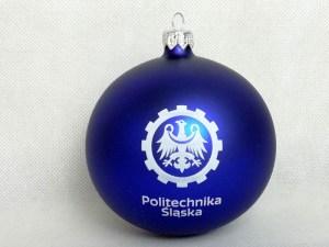 bombki z logo, producent bombek, bombka niebieska Politechnika śląska