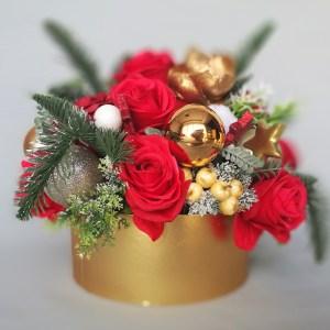 Świąteczny flowerbox czerwono - złoty nr. 103